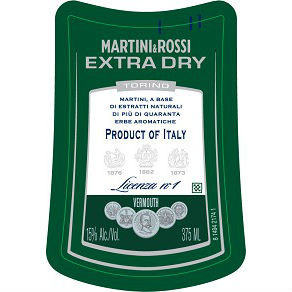 Martini & Rossi extra dry vermouth label adel